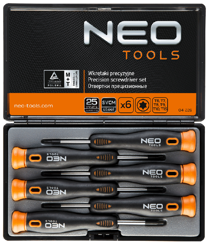ca51f73fb24458 Zestaw wkrętaków precyzyjnych Torx 6szt, Neo Tools 04-226 ...